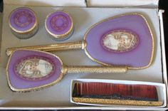 Guilloche Vanity Set/Vintage 5 Piece Matched by CircleANaturals, $375.00