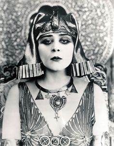 1917 promotional still for the movie Cleopatra, starring Theda Bara. The name 'Bara' was simply the word 'Arab' spelled backwards because the studio wanted to inject a more exotic character to its harem of stars. In truth, Theda was, in her own words, 'a nice Jewish girl from Cincinnati.'
