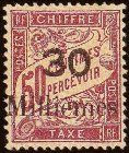 1921 Port Said, 30 milliemes on 50c postage due, dull claret.