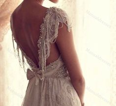 2014-100% Manual dresses Cap Sleeve Deep V-neck Back Backless Beaded Lace Ivory Elegant Style Long Wedding Dresses Custom Made Prom Gowns on Etsy, $265.56 AUD
