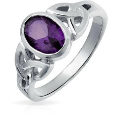 Bling Jewelry Bling Jewelry Sterling Silver Celtic Triquetra Simulated... ($26) ❤ liked on Polyvore featuring jewelry, rings, purple, sterling silver rings, celtic jewelry, amethyst rings, amethyst band ring and purple ring