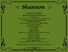 Nicknames for shannon