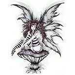 Tattoo design of a fairy sitting on a mushroom