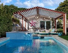 love this pool and outdoor living room featured on House of Turquoise