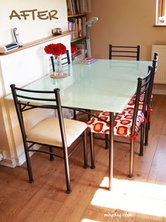 painting furniture glass table top, painted furniture, After photo. Great Idea!