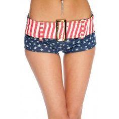 Red Blue White Flag Print Belted Mini Shorts