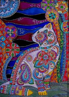 """Needlepoint Canvas """"Moon Cat""""-what a fun challenge this is!"""