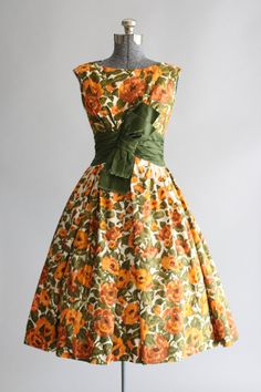 1950's Floral Print with Bow Dress
