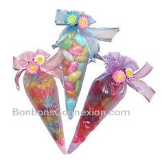 Easter organza candy cones - Pâques Cornets de bonbons organza  #eastercandycones #cornetsbonbonspaques