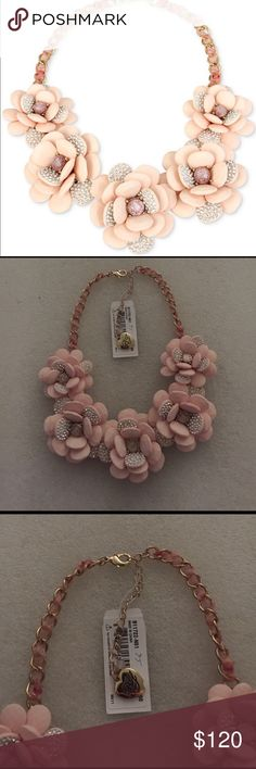 Betsey Johnson necklace Selling to buy betsey pieces I need. This is a gold with ribbon lace entwined chain. The gorgeous necklace is of flower with rhinestones encrusted. NWT Betsey Johnson Jewelry Necklaces