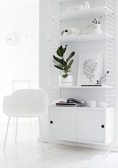 String Shelves / All White / Indoor Plants / Scandinavian Design / Interiors