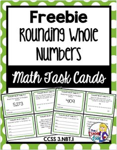 Rounding Whole Numbers Task Cards: 3rd Grade This FREE set of 24 Rounding Whole Numbers task cards will help your students practice some important 3rd grade math skills. This resource is Common Core aligned but will work well in any classroom (the cards have no CCSS notation).Heres what it includes:24 Task CardsA Recording SheetAn Answer KeyA Self-Checking Answer SheetTeacher NotesI really love task cards and have found them to be a valuable tool in my classroom. They are great for so many…