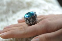 terrarium ring  real flowers jewelry glass  nature by zolanna