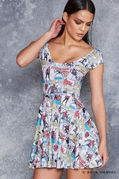 The Amazing Spider-Man Cap Sleeve Skater Dress - Limited Black Milk Clothing, Geek Fashion, Amazing Spider, Silhouette, Skater Dress, Spring Outfits, Cap Sleeves, Spiderman, Short Dresses