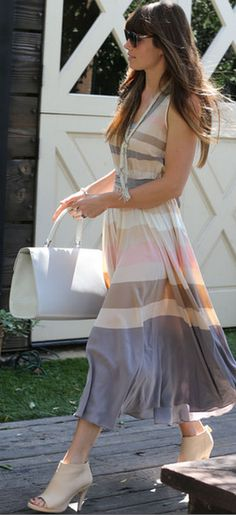 Who made  Jessica Biels sunglasses and stripe dress that she wore in Hollywood?