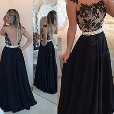 Black Floral Lace Prom Dresses, Pearl Beaded Prom Dress with See-through Back, Cap Sleeves Satin Prom Dresses