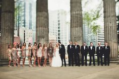 The wedding party. Style: Classic. Moods: Traditional, Glamorous, Sophisticated.