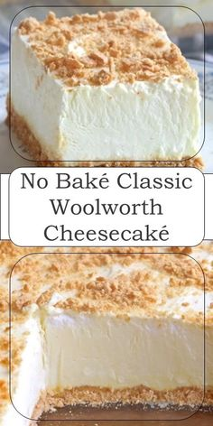 No Bake Woolworth Cheesecake is a classic, light and lemony dessert and will be ., Desserts, No Bake Woolworth Cheesecake is a classic, light and lemony dessert and will be the perfect addition to your Easter or Mother's Day menu! No Bake Desserts, Easy Desserts, Delicious Desserts, Yummy Food, Cheesecake Desserts, Cream Cheese Desserts, Lemon Cheesecake No Bake, Simple Cheesecake Recipe, Unbaked Cheesecake