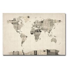 Michael Tompsett 'Vintage Postcard World Map' Canvas Art | Overstock.com Shopping - The Best Deals on Canvas