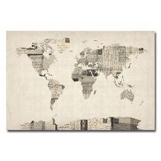 Michael Tompsett 'Vintage Postcard World Map' Canvas Art | Overstock.com Shopping - The Best Deals on Canvas