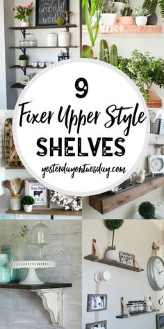 9 Fixer Upper Style Shelves: Great options for fixer upper style shelving in your home. 9 Fixer Upper Style Shelves: Great options for fixer upper style shelving in your home. Pretty home decor and storage ideas. Fixer Upper Style, Fixer Upper Decor, Fixer Upper Dekoration, Home Renovation, Home Remodeling, Kitchen Remodeling, Home Decor Kitchen, Diy Home Decor, Decor Crafts