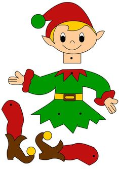Boże Narodzenie: Wycinanka – Elfy Christmas Elf Doll, Christmas Arts And Crafts, Christmas Activities, Christmas Fun, Holiday Crafts, Imprimibles Toy Story Gratis, Kids Background, Paper Puppets, Puppet Crafts