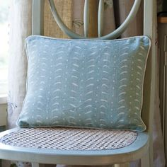 Feathers Linen Cushion - Piping/Duck Egg Blue