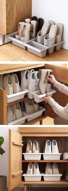 Tidily Footwear Organizer - All For Garden Corner Storage, Hidden Storage, Closet Storage, Diy Storage, Storage Ideas, Space Saving Shoe Rack, Diy Shoe Rack, Shoe Racks, Ideas Para Organizar