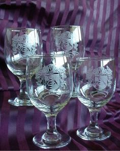 Family Crest Wine Glasses / Coat of Arms Wine Glasses SET of FOUR Engraved Glassware $79.99 - OVER 1 MILLION LAST NAMES AVAILABLE