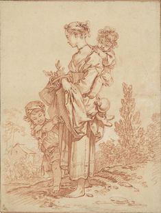 François Boucher, French, Young Woman with Two Children. Red chalk on paper, 24 x cm. Chalk Drawings, Realistic Drawings, Colorful Drawings, Pencil Drawings, Cool Sketches, Drawing Sketches, Sketching, Figure Painting, Figure Drawing