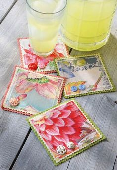 how cute would it be to make coasters from vintage hankies find hankies here: http://www.nanaluluslinensandhandkerchiefs.com/