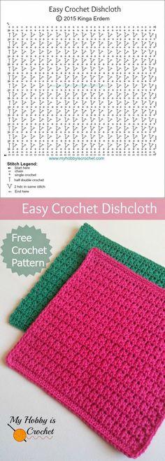 Mi afición ganchillo: Tejer un simple papel de cocina | Esquema de crochet libre: instrucciones escritas y gráficas | mi hobby que hace punto