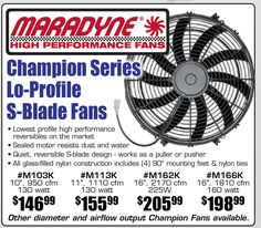 Maradyne Champion Series Lo-Profile S-Blade Fans Starting From $146.99 EA. Sale runs until February 28, 2017• Lowest profile high performance reversibles on the market• Sealed motor resists dust and water• Quiet, reversible S-blade design - works as a puller or pusher• All glass-filled nylon construction includes (4) 90° mounting feet & nylon ties https://aadiscountauto.ca/special/833/maradyne-champion-series-lo-profile-s-blade-fans.html #ChampionSeries #SBladeFans #Maradyne #Champion…