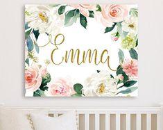 Mint Blush Purple Floral Nursery Wall Decor Canvas, Baby Girl Floral Nursery Art, Nursery Baby Name Sign, Personalized Floral Nursery Canvas Name Canvas, Nursery Canvas, Nursery Wall Decor, Baby Room Decor, Nursery Art, Floral Nursery, Floral Wall, Name Paintings, Name Wall Art