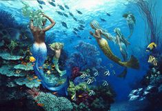 """""""Sisters of the Sea"""" by James Christensen. It's so vivid it feels like I'm underwater swimming with the mermaids."""