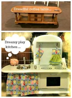 Coffee-table upcycled into a play kitchen for a very short chef  :) for Danielle