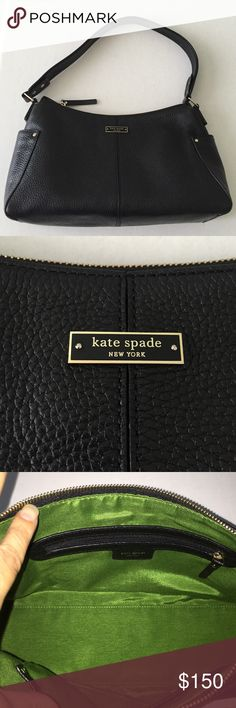 "Kate spade Handbag EUC! Kate spade black pebbled leather handbag. Zipper closure, excellent condition inside and out. Comes with dustbag. Measurements: 12.5"" x 8"" 4"". Handle drop approximately 9"". Very roomy! kate spade Bags"