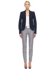 Michael Kors Gabardine Tuxedo Jacket, Slim Cotton Tank & Striped Shantung Pants.--Spring 2013---Love the reverse nautical