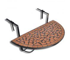 Závěsný mozaikový půlkulatý balkonový stolek - terakota