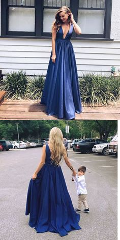 Sexy Blue Deep V Neck Prom Dress,Backless A Line Formal Gown
