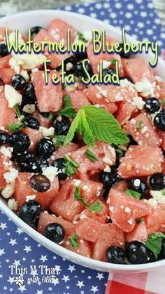 Fruit Salads are cool, refreshing and delicious! Add in some feta and you have a fun twist! Grab this Watermelon Blueberry Feta Salad Recipe. Best Salad Recipes, Easy Healthy Recipes, Great Recipes, Favorite Recipes, Delicious Recipes, Delicious Dishes, Amazing Recipes, Recipe Ideas, Healthy Options