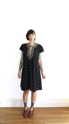 eca1a0308b revived vintage dress    salwar kameez   black embroidered tunic dress    small medium