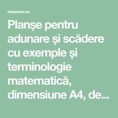 Planșe pentru adunare și scădere cu exemple și terminologie matematică, dimensiune A4, de afișat în clasă sau de lipit în caiete Kids And Parenting