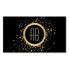 Gold Confetti Circle Monogram Black Business Card