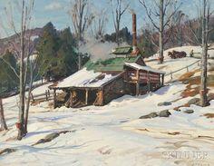 """Sugaring Off,"" Aldro Thompson Hibbard, oil on canvas, 28 x 36"", private collection."