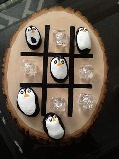 Penguin & Ice hand painted rocks Tic Tac Toe Game $25.00 ea
