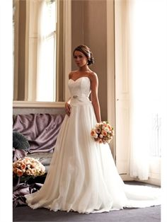 2015 Wedding Dresses White A Line Sweetheart Beads Sashes Lace Organza Bridal Gowns AWD62002