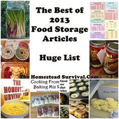 The Best of 2013 Food Storage Articles - Huge List Homesteading - The Homestead Survival . Emergency Preparedness Food, Emergency Preparation, Survival Food, Homestead Survival, Survival Prepping, Survival Skills, Prepper Food, Survival Supplies, Emergency Supplies