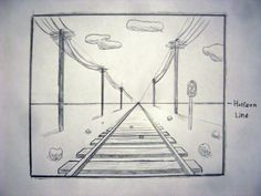 one point perspective railroad tracks