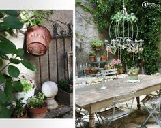 The center of the courtyard, a large wooden table topped with a kitchen iron chandelier decorated with tassels